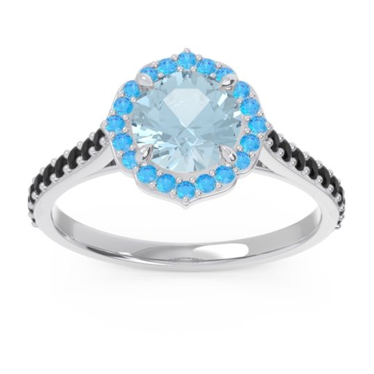 Aquamarine Halo Pave Pulla Ring with Swiss Blue Topaz and Black Onyx in 18k White Gold