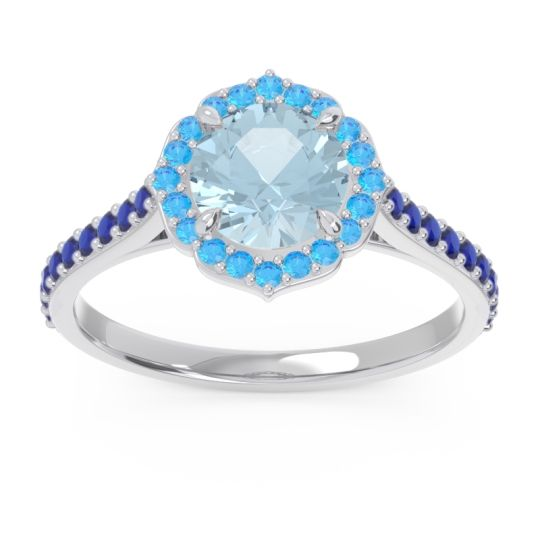 Aquamarine Halo Pave Pulla Ring with Swiss Blue Topaz and Blue Sapphire in 18k White Gold