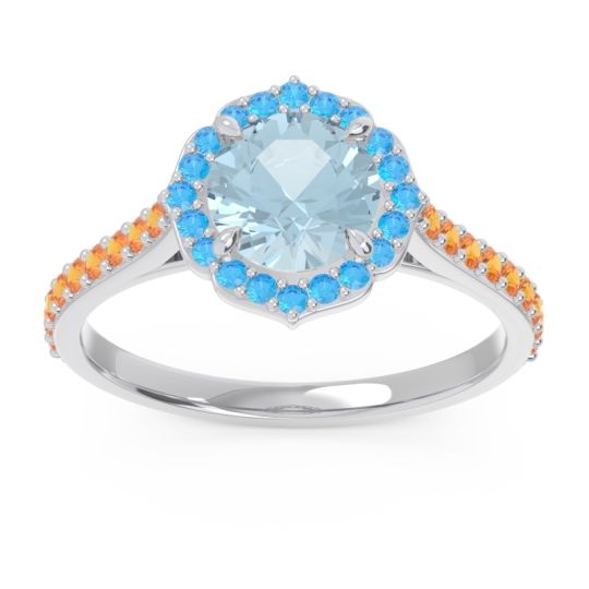 Aquamarine Halo Pave Pulla Ring with Swiss Blue Topaz and Citrine in 14k White Gold