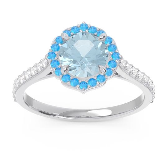 Aquamarine Halo Pave Pulla Ring with Swiss Blue Topaz and Diamond in Palladium