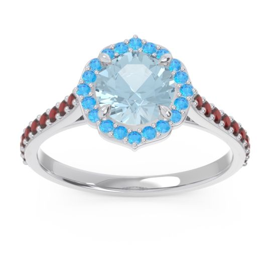 Aquamarine Halo Pave Pulla Ring with Swiss Blue Topaz and Garnet in 18k White Gold