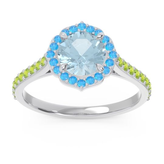 Halo Pave Pulla Aquamarine Ring with Swiss Blue Topaz and Peridot in Platinum