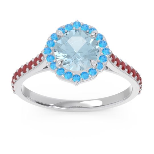 Aquamarine Halo Pave Pulla Ring with Swiss Blue Topaz and Ruby in 14k White Gold