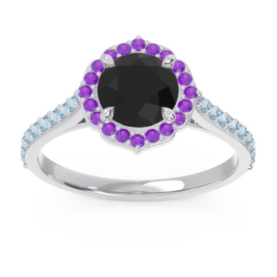 Black Onyx Halo Pave Pulla Ring with Amethyst and Aquamarine in Platinum
