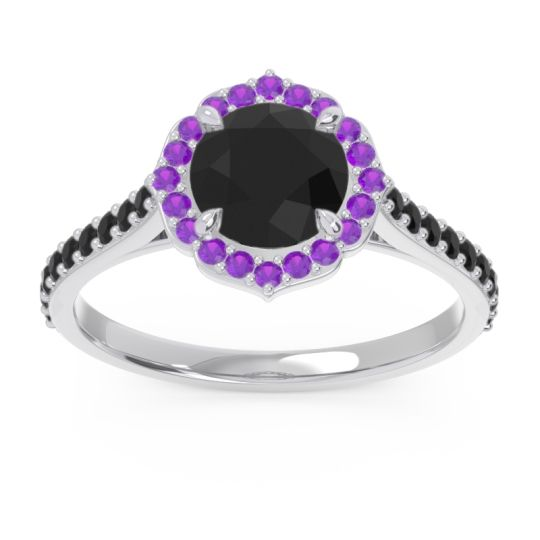 Black Onyx Halo Pave Pulla Ring with Amethyst in 14k White Gold