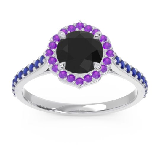 Black Onyx Halo Pave Pulla Ring with Amethyst and Blue Sapphire in 14k White Gold