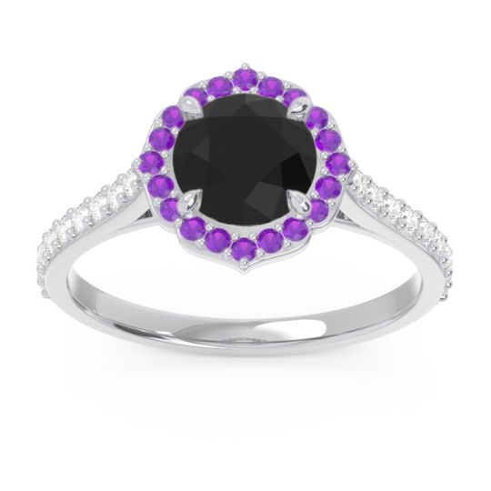 Black Onyx Halo Pave Pulla Ring with Amethyst and Diamond in Platinum