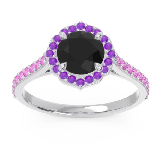 Black Onyx Halo Pave Pulla Ring with Amethyst and Pink Tourmaline in 14k White Gold