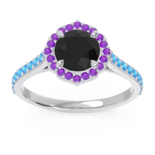 Black Onyx Halo Pave Pulla Ring with Amethyst and Swiss Blue Topaz in Palladium