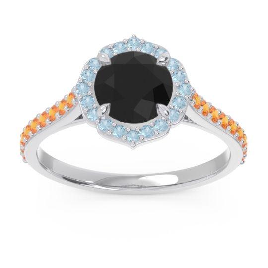 Black Onyx Halo Pave Pulla Ring with Aquamarine and Citrine in Platinum