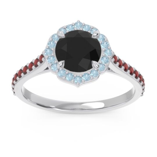 Black Onyx Halo Pave Pulla Ring with Aquamarine and Garnet in 18k White Gold