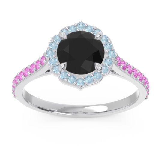 Black Onyx Halo Pave Pulla Ring with Aquamarine and Pink Tourmaline in Platinum