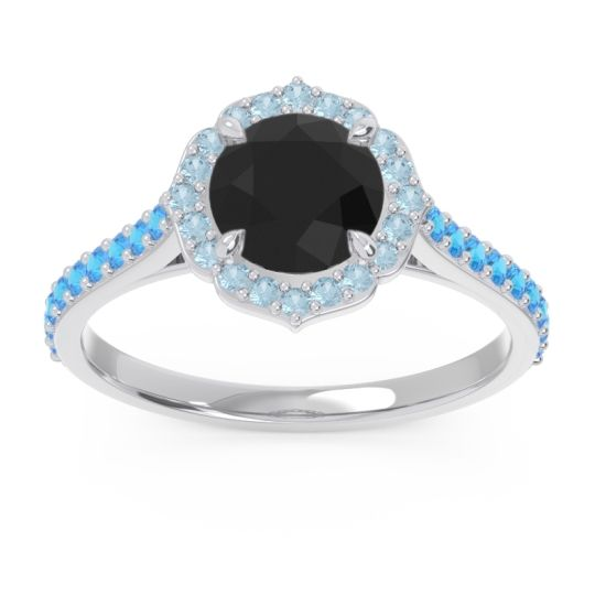 Black Onyx Halo Pave Pulla Ring with Aquamarine and Swiss Blue Topaz in 18k White Gold