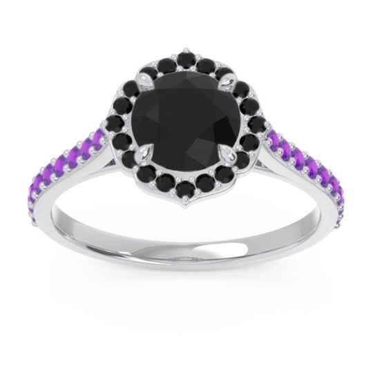 Black Onyx Halo Pave Pulla Ring with Amethyst in 18k White Gold