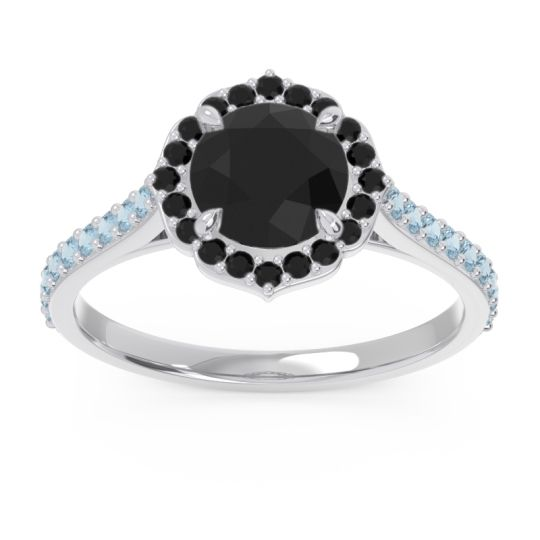 Black Onyx Halo Pave Pulla Ring with Aquamarine in 14k White Gold