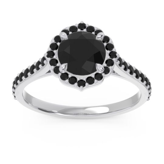 Black Onyx Halo Pave Pulla Ring in 18k White Gold