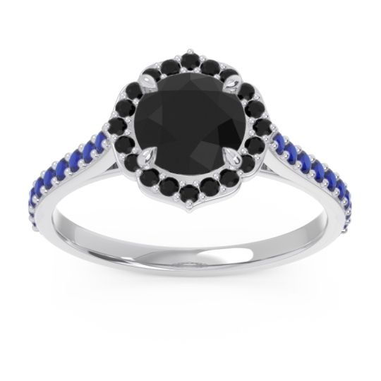 Black Onyx Halo Pave Pulla Ring with Blue Sapphire in 14k White Gold