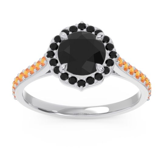 Black Onyx Halo Pave Pulla Ring with Citrine in 14k White Gold