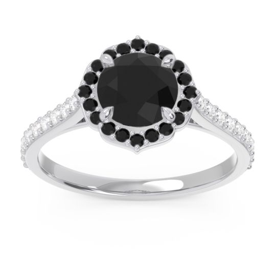 Black Onyx Halo Pave Pulla Ring with Diamond in 14k White Gold