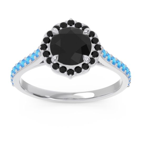 Black Onyx Halo Pave Pulla Ring with Swiss Blue Topaz in Platinum