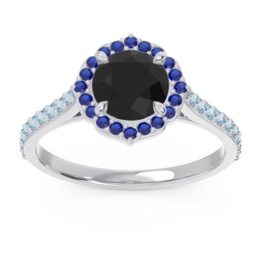 Black Onyx Halo Pave Pulla Ring with Blue Sapphire and Aquamarine in 18k White Gold