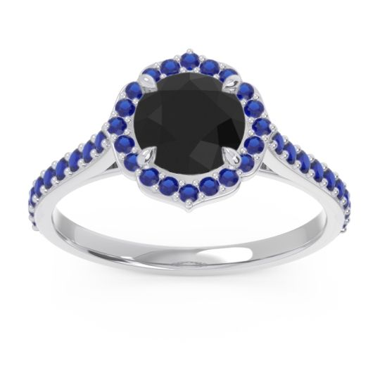Black Onyx Halo Pave Pulla Ring with Blue Sapphire in Palladium