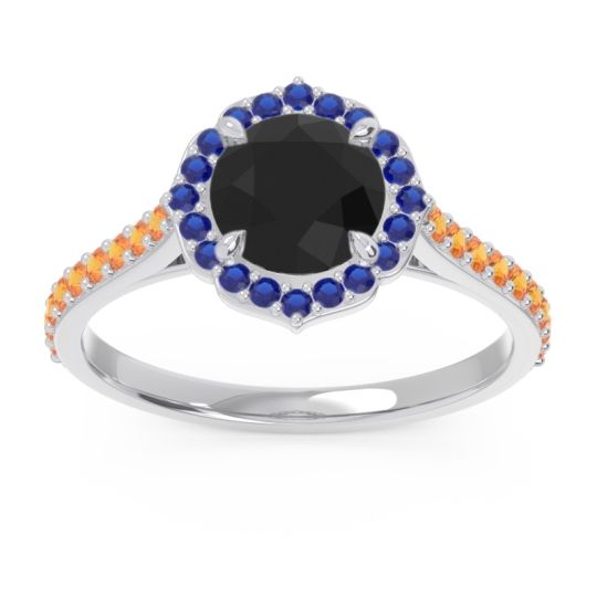 Black Onyx Halo Pave Pulla Ring with Blue Sapphire and Citrine in Palladium