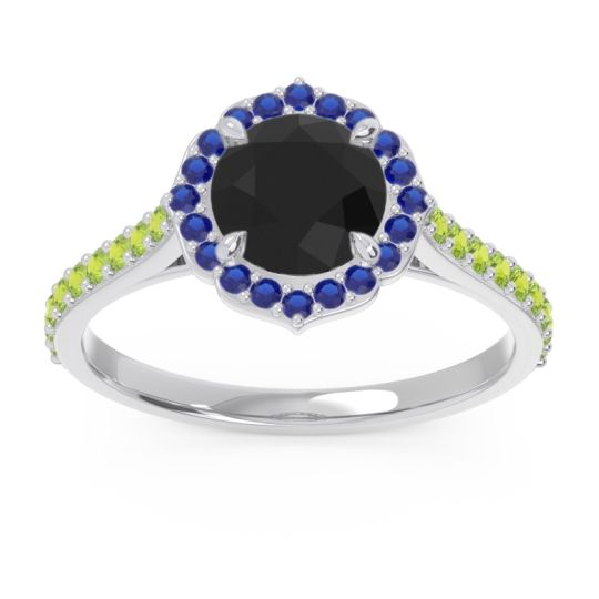 Black Onyx Halo Pave Pulla Ring with Blue Sapphire and Peridot in Palladium
