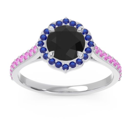 Black Onyx Halo Pave Pulla Ring with Blue Sapphire and Pink Tourmaline in 18k White Gold