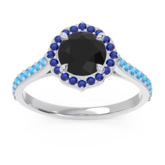 Black Onyx Halo Pave Pulla Ring with Blue Sapphire and Swiss Blue Topaz in Palladium
