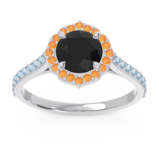 Black Onyx Halo Pave Pulla Ring with Citrine and Aquamarine in Platinum