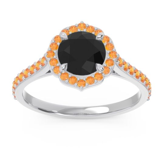 Black Onyx Halo Pave Pulla Ring with Citrine in Platinum