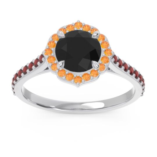Black Onyx Halo Pave Pulla Ring with Citrine and Garnet in 14k White Gold
