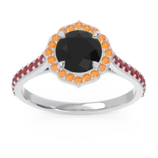 Black Onyx Halo Pave Pulla Ring with Citrine and Ruby in Palladium