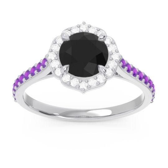Black Onyx Halo Pave Pulla Ring with Diamond and Amethyst in 14k White Gold