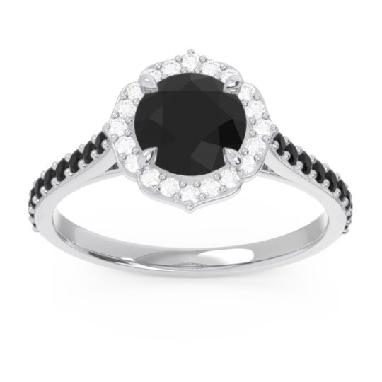 Black Onyx Halo Pave Pulla Ring with Diamond in Platinum