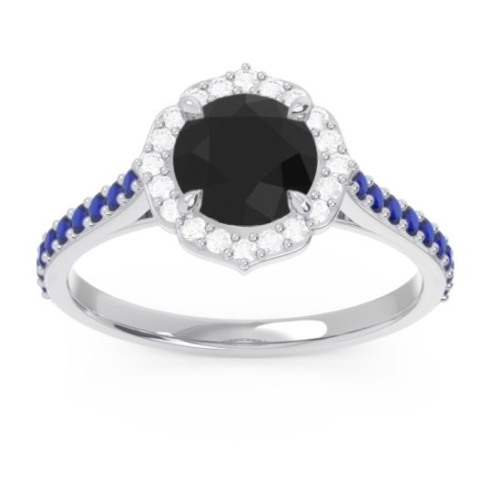 Black Onyx Halo Pave Pulla Ring with Diamond and Blue Sapphire in Palladium