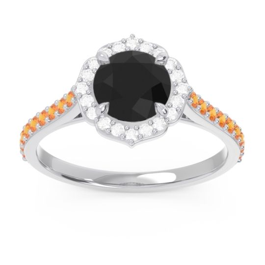 Black Onyx Halo Pave Pulla Ring with Diamond and Citrine in 14k White Gold