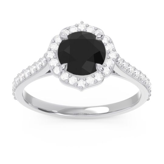Halo Pave Pulla Black Onyx Ring with Diamond in 14k White Gold
