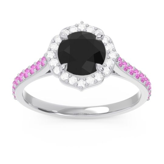 Black Onyx Halo Pave Pulla Ring with Diamond and Pink Tourmaline in Platinum