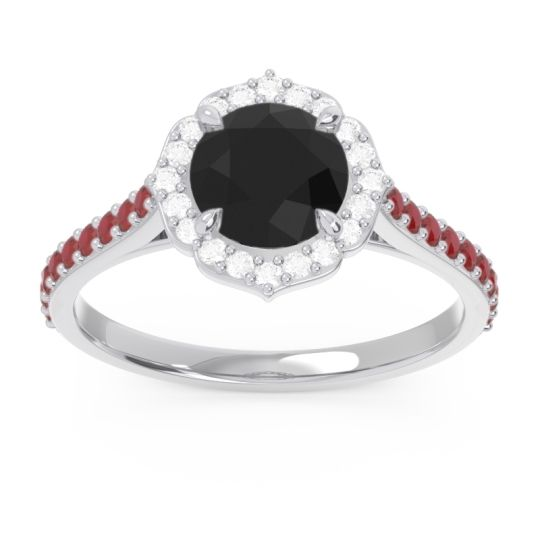 Black Onyx Halo Pave Pulla Ring with Diamond and Ruby in Palladium