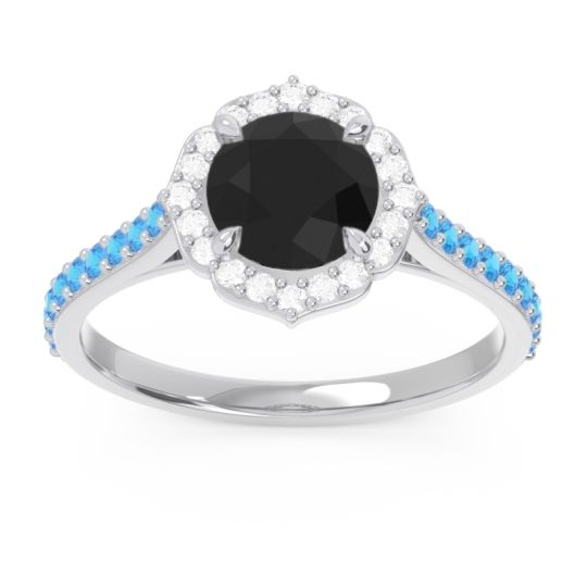 Black Onyx Halo Pave Pulla Ring with Diamond and Swiss Blue Topaz in 14k White Gold