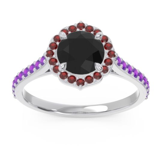 Black Onyx Halo Pave Pulla Ring with Garnet and Amethyst in Palladium