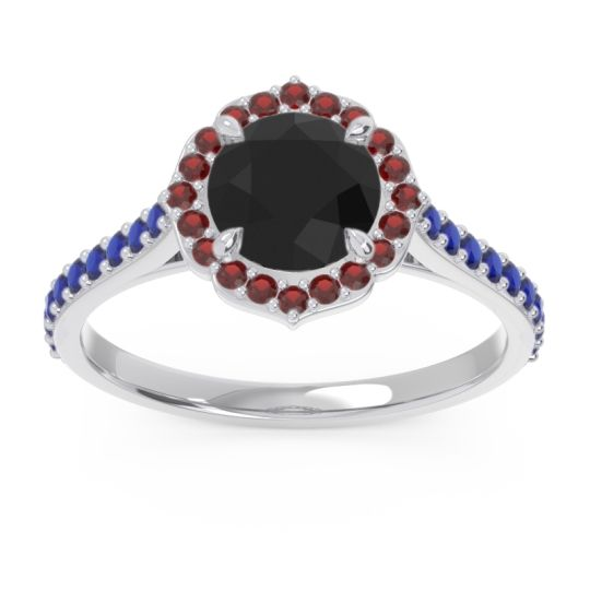 Black Onyx Halo Pave Pulla Ring with Garnet and Blue Sapphire in Palladium