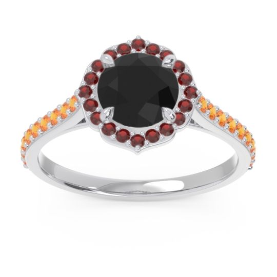 Black Onyx Halo Pave Pulla Ring with Garnet and Citrine in Palladium