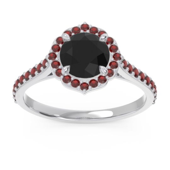 Black Onyx Halo Pave Pulla Ring with Garnet in 14k White Gold