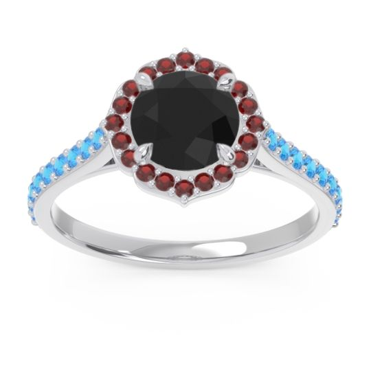 Black Onyx Halo Pave Pulla Ring with Garnet and Swiss Blue Topaz in Platinum