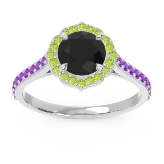 Black Onyx Halo Pave Pulla Ring with Peridot and Amethyst in 18k White Gold