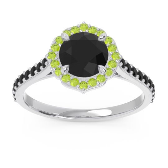 Black Onyx Halo Pave Pulla Ring with Peridot in 18k White Gold