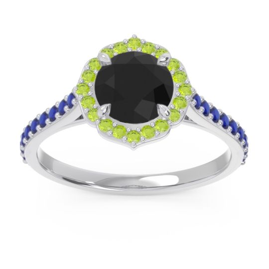 Black Onyx Halo Pave Pulla Ring with Peridot and Blue Sapphire in Palladium